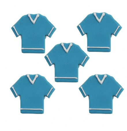 Blue Football Shirts Sugar Decorations